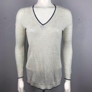 Boden Silver Navy Trim Sweater 8